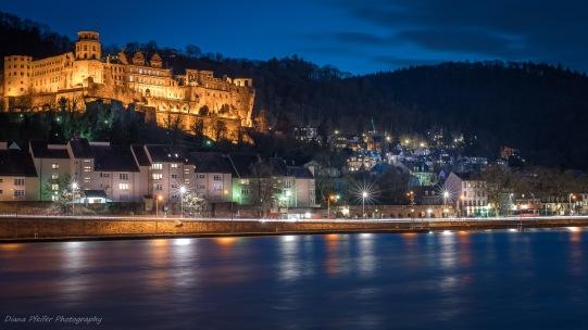 Schloss Heidelberg gesehen von der Schleuse